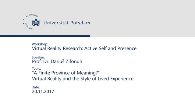 """A Finite Province of Meaning?"" - Virtual Reality and the Style of Lived Experience"